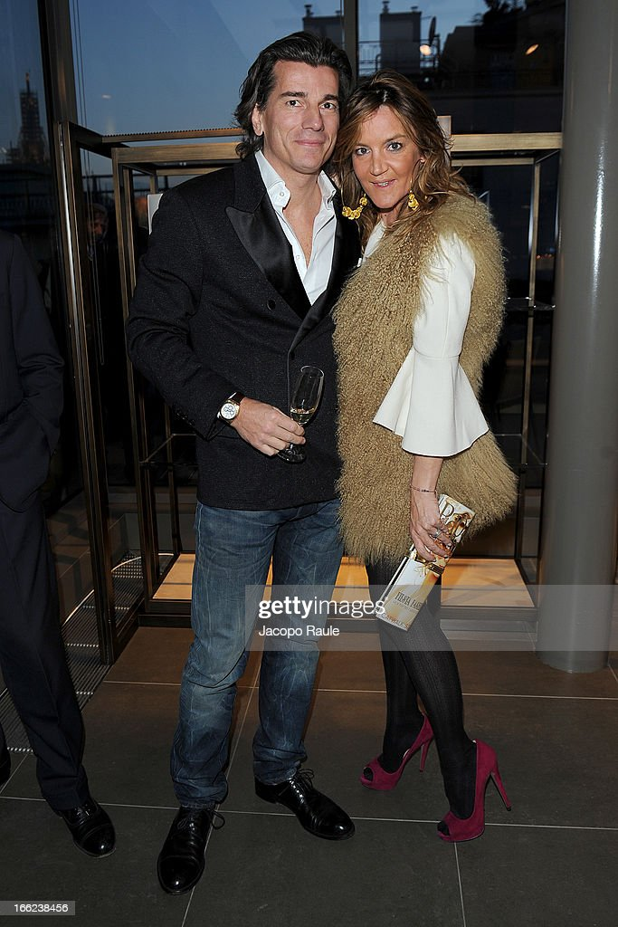 Patrizia D'Asburgo (R) and her husband Dimitri Kunz D'Asburgo attend Ron Gilad for Molteni&C and Salvatore Ferragamo on April 10, 2013 in Milan, Italy.