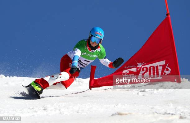 Patrizia Kummer of Switzerland competes in the final of the Women's Parallel Slalom on day eight of the FIS Freestyle Ski and Snowboard World...