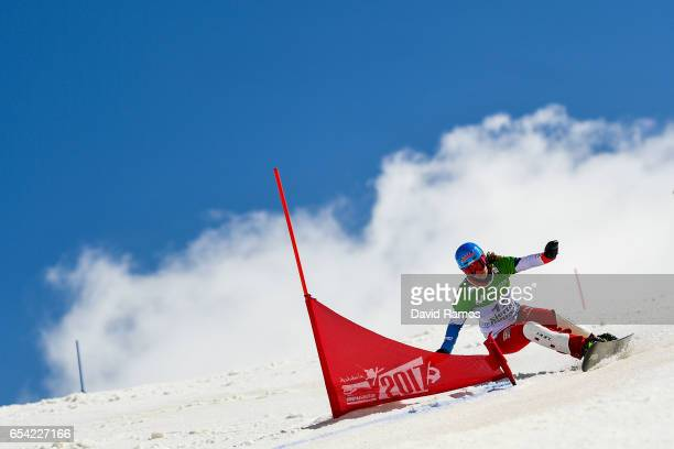 Patrizia Kummer of Switzerland competes in the final of the Women's Parallel Giant Slalom on day 9 of the FIS Freestyle Ski Snowboard World...