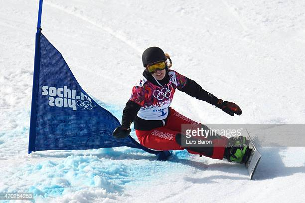 Patrizia Kummer of Switzerland competes in the Snowboard Ladies' Parallel Giant Slalom Semifinals on day twelve of the 2014 Winter Olympics at Rosa...