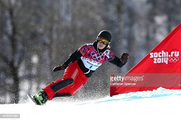 Patrizia Kummer of Switzerland competes in the Snowboard Ladies' Parallel Giant Slalom Finals on day twelve of the 2014 Winter Olympics at Rosa...