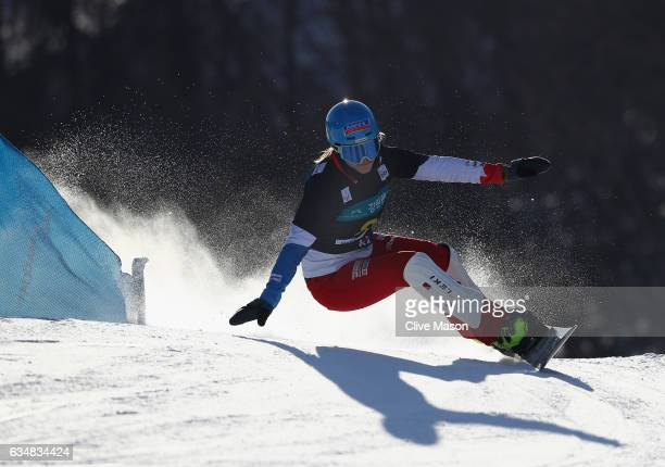 Patrizia Kummer of Switzerland in action during the FIS Freestyle World Cup Ladies Parallel Giant Slalom at Bokwang Snow Park on February 12 2017 in...