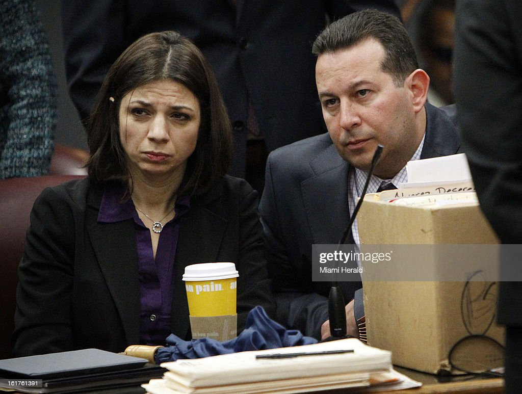 Patrizia Pesce, the widow of 49-year-old chef Stefano Riccioletti, and her attorney, Jose Baez, listen in court as Judge Migna Sanchez-Llorens charges 20-year-old Karlie Tomica in the DUI manslaughter of Riccioletti and issues a $77,000 bond for Tomica, Friday, February 15, 2013.