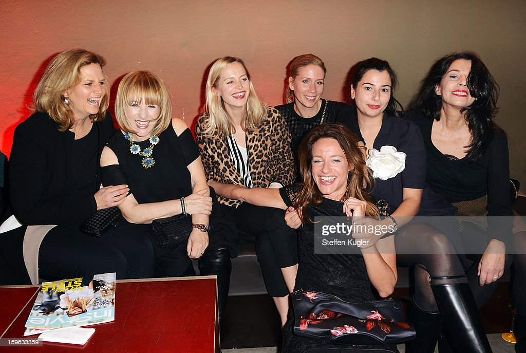 Patrizia Riekel (2L) and guests are seen at Burda Style Group Cocktail on January 17, 2013 in Berlin, Germany.