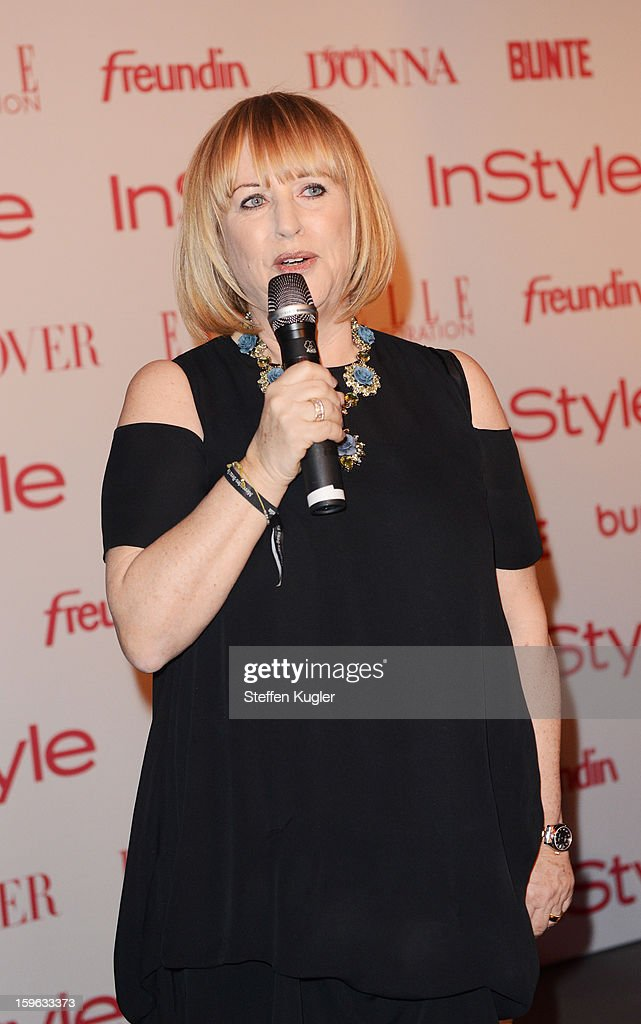 Patrizia Riekel gives a speech at the Burda Style Cocktail on January 17, 2013 in Berlin, Germany.