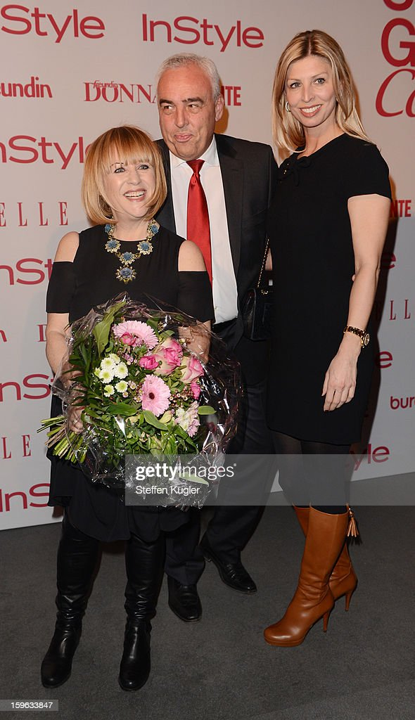 Patrizia Riekel, Hans Reiner Schroeder and his wife Katarina are pictured at the Burda Style Group Cocktail on January 17, 2013 in Berlin, Germany.