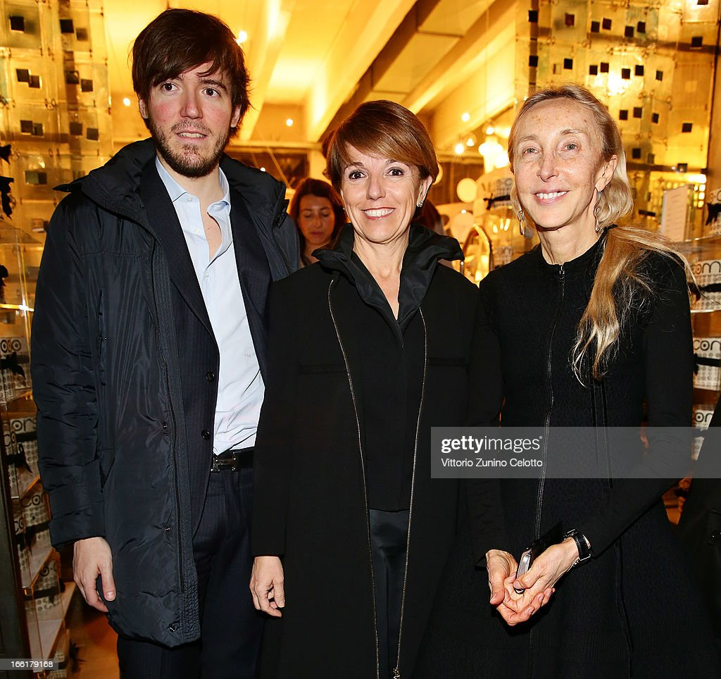 Patrizia Sandretto Re Rebaudengo and Carla Sozzani attend Citroen DS Sofa and DS3 Cabrio L'Uomo Vogue Limited Edition cocktail at Corso Como 10 on April 9, 2013 in Milan, Italy.