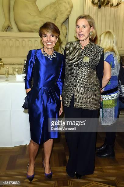 Patrizia Sandretto Re Rebaudengo and Giovanna Melandri attend 'SHIT AND DIE' Vernissage at palazzo Cavour on November 5 2014 in Turin Italy