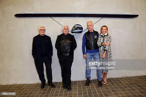 Patrizio Bertelli Germano Celant Gianni Piacentino and Miuccia Prada attend the Opening Of Gianni Piacentino's Exhibition at Fondazione Prada on...