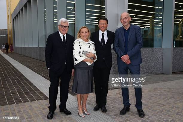 Patrizio Bertelli Miuccia Prada Mateo renzi and Rem Koolhaas attend the Fondazione Prada Opening on May 3 2015 in Milan Italy