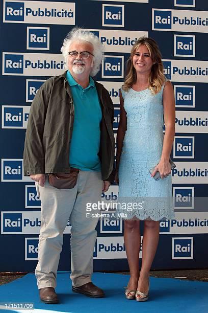 Patrizio Roversi left and Ingrid Muccitelli attend RAI Television 2013 / 2014 Programming Presentation at RAI Dear Studios on June 25 2013 in Rome...