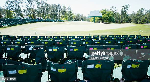 Patron chairs are seen near the 18th green during the third round of the 2016 Masters Tournament at the Augusta National Golf Club on April 9 2016 in...