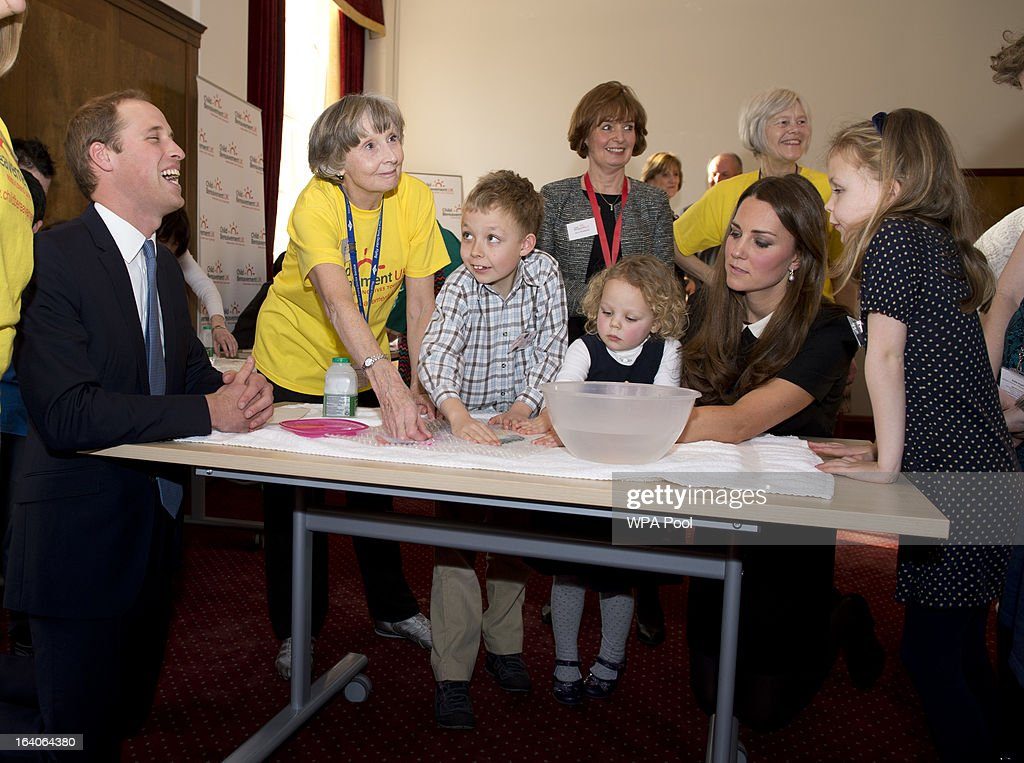 Patron of Child Bereavement UK, Prince William, Duke of Cambridge and Catherine, Duchess of Cambridge with recently bereaved children William Howitt, 8, Geogina Howitt, 6 and Beatrice Howitt, 3, as they visit the offices of Child Bereavement UK on March 19, 2013 in Saunderton, Buckinghamshire.