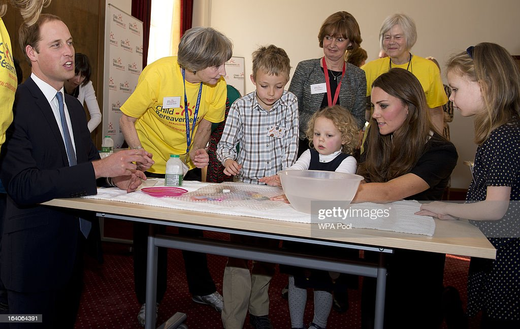 Patron of Child Bereavement UK, <a gi-track='captionPersonalityLinkClicked' href=/galleries/search?phrase=Prince+William&family=editorial&specificpeople=178205 ng-click='$event.stopPropagation()'>Prince William</a>, Duke of Cambridge and Catherine, Duchess of Cambridge with recently bereaved children William Howitt, 8, Geogina Howitt, 6 and Beatrice Howitt, 3, as they visit the offices of Child Bereavement UK on March 19, 2013 in Saunderton, Buckinghamshire.