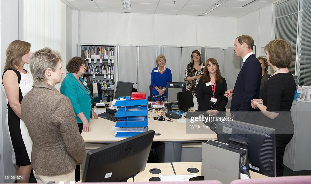 Patron of Child Bereavement UK, Prince William, Duke of Cambridge chats to members of the bereavement services team as he visits the offices of Child Bereavement UK on March 19, 2013 in Saunderton, Buckinghamshire.