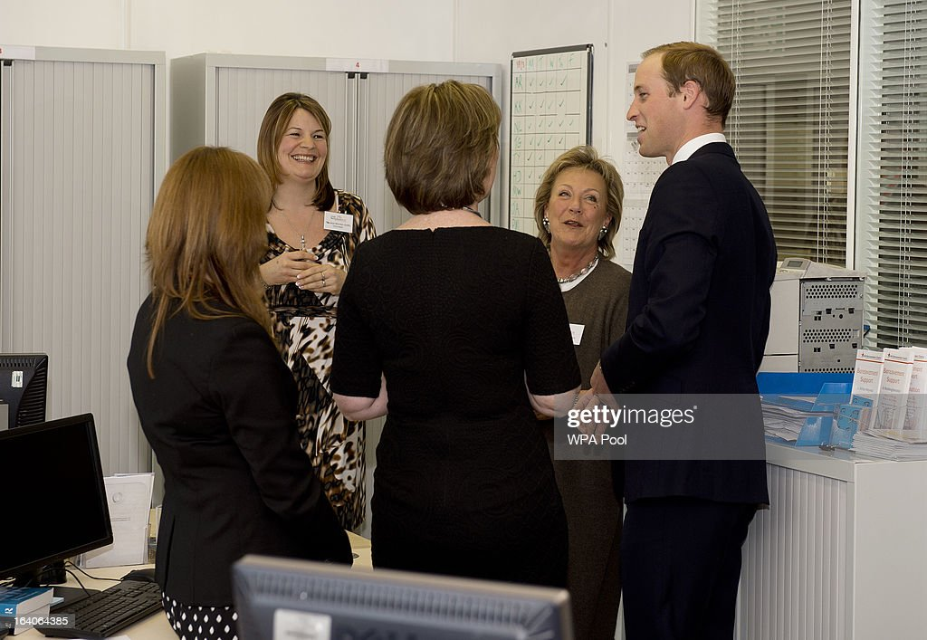 Patron of Child Bereavement UK, <a gi-track='captionPersonalityLinkClicked' href=/galleries/search?phrase=Prince+William&family=editorial&specificpeople=178205 ng-click='$event.stopPropagation()'>Prince William</a>, Duke of Cambridge chats to members of the bereavement services team as he visits the offices of Child Bereavement UK on March 19, 2013 in Saunderton, Buckinghamshire.