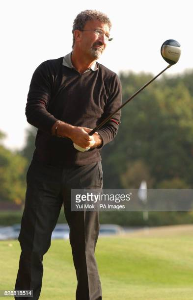 A patron of the charity Formula 1 boss Eddie Jordan in action during the sixth annual CLIC charity Sunningdale Golf Day at Sunningdale golf course in...
