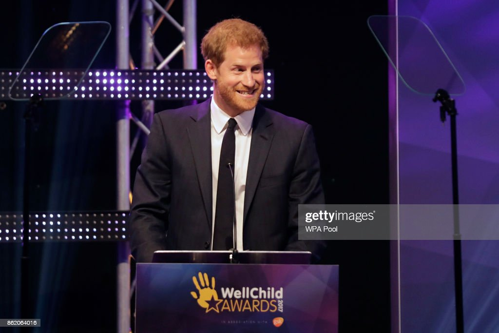 Patron of WellChild, Prince Harry delivers a speech on stage at the annual WellChild awards at the Royal Lancaster Hotel on October 16, 2017 in London, England. The Prince attended the annual WellChild awards Monday for the charity, who help to get seriously ill children and young people out of hospital and home to their families.