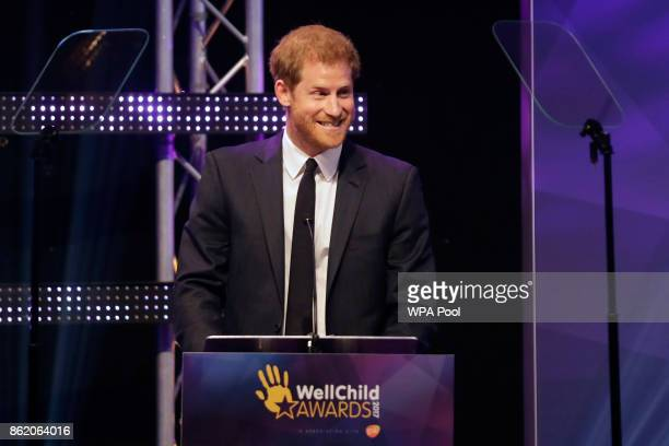 Patron of WellChild Prince Harry delivers a speech on stage at the annual WellChild awards at the Royal Lancaster Hotel on October 16 2017 in London...