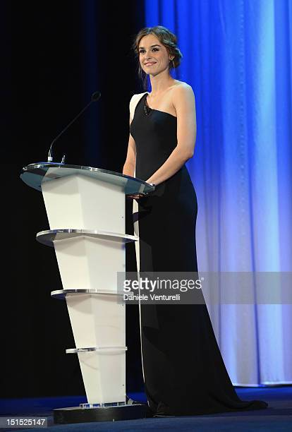 Patroness Kasia Smutniak speaks onstage during the Award Ceremony Inside during The 69th Venice Film Festival at the Palazzo del Cinema on September...