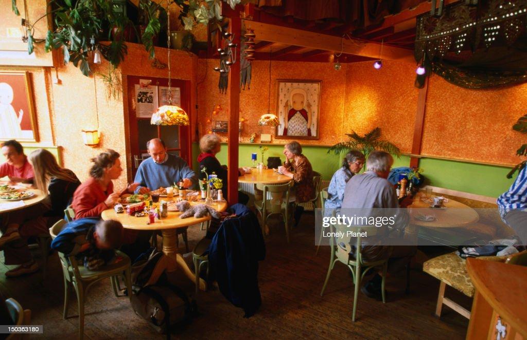 Patrons at De Bolhoed, a vegetarian restaurant on Prinsengracht. : Stock Photo