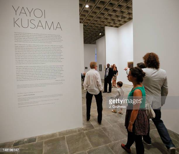 Patrons attend the Yayoi Kusama Retrospective Exhibition Opening Reception at The Whitney Museum of American Art on July 11 2012 in New York City