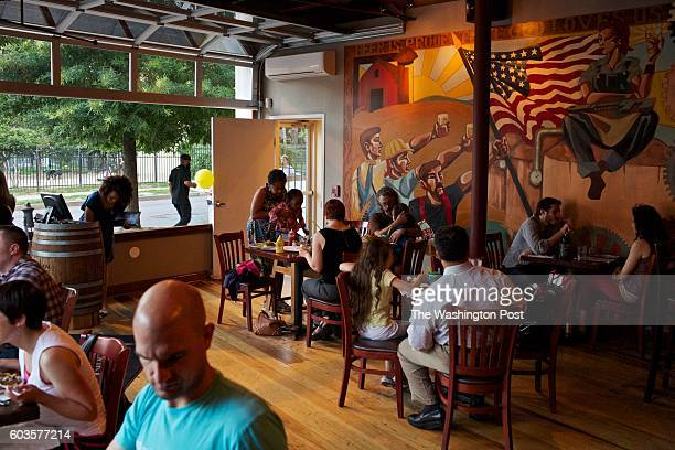 Patrons fill the upstairs dining room at Meridian Pint in Columbia Heights According to the restaurant's general manager Drew Swift half of the bar's...