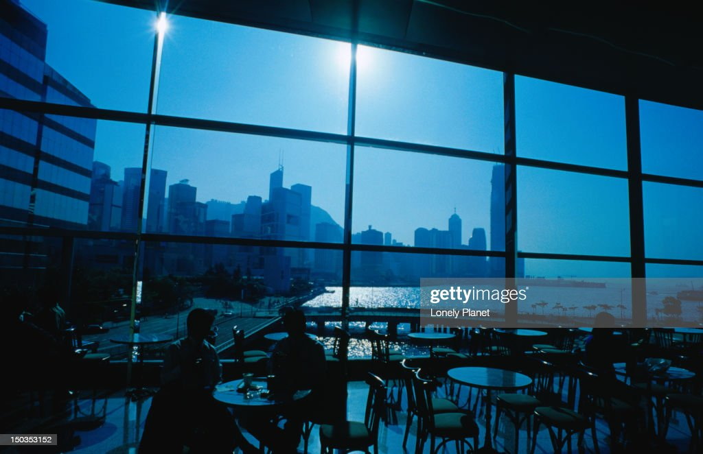 Patrons in the Cybercafe of the Wan Chai Convention and Exhibition Centre in Hong Kong. : Stock Photo