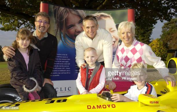 Patrons of the charity Gary Lineker and Eddie and Marie Jordan with cancer survivor Zara aged 6 with her brother Zac aged 9 and Jasmine aged 9 and...