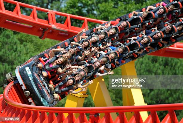 Patrons ride the 'Intimidator 305' roller coaster at Kings Dominion Amusement Park in Doswell VA on July 14 2011 It's 305 feet at the highest point...