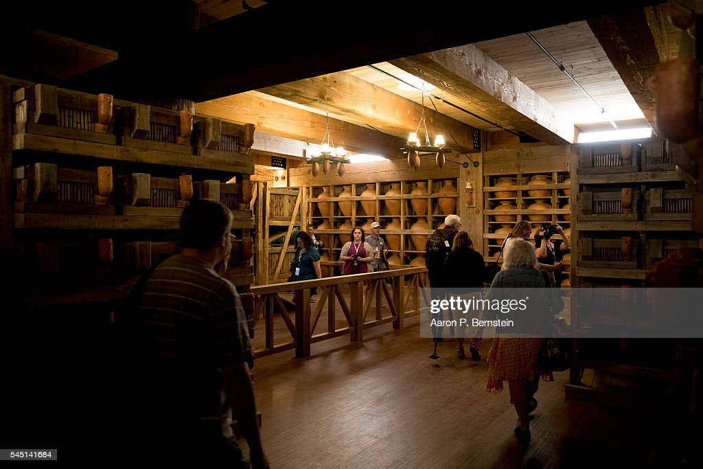 Patrons tour the interior of the Ark Encounter July 5, 2016 in Williamstown, Kentucky. The Ark Encounter is a theme park centered around a 510 foot long reproduction of Noah's Ark.
