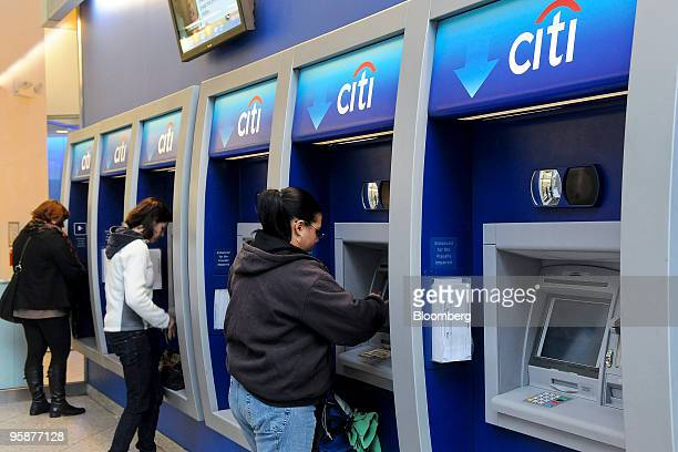 Patrons use ATMs at a Citibank branch in New York US on Tuesday Jan 19 2010 Citigroup the US bank that is 27 percent owned by the Treasury Department...