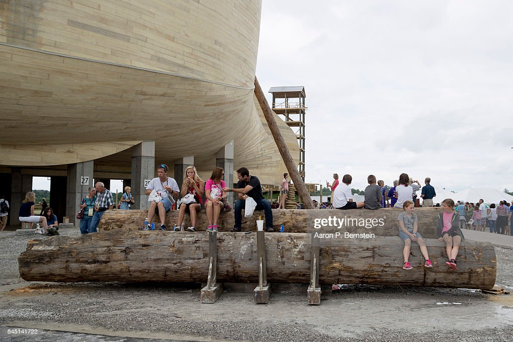 Patrons wait for tours outside the Ark Encounter July 5, 2016 in Williamstown, Kentucky. The Ark Encounter is a theme park centered around a 510 foot long reproduction of Noah's Ark.