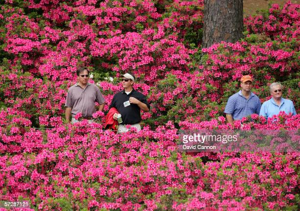 Patrons watch play on the tenth hole during the second round of The Masters at the Augusta National Golf Club on April 7 2006 in Augusta Georgia