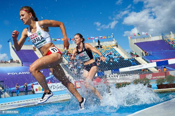 Patrycja Kapala from Poland and Manon Perau from France compete in women's 3000m steeplechase semifinal during Day 1 of European Athletics U23...