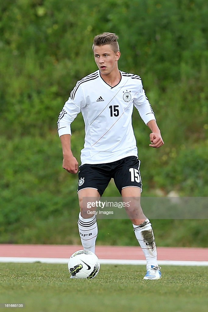 Patryk Dragon of Germany in action during the Under17 Algarve Youth Cup match between U17 Portugal and U17 Germany at the Stadium Bela Vista on February 12, 2013 in Parchal, Portugal.