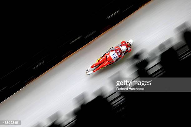 Patryk Poreba and Karol Mikrut of Poland compete in the Men's Luge Doubles on Day 5 of the Sochi 2014 Winter Olympics at Sliding Center Sanki on...