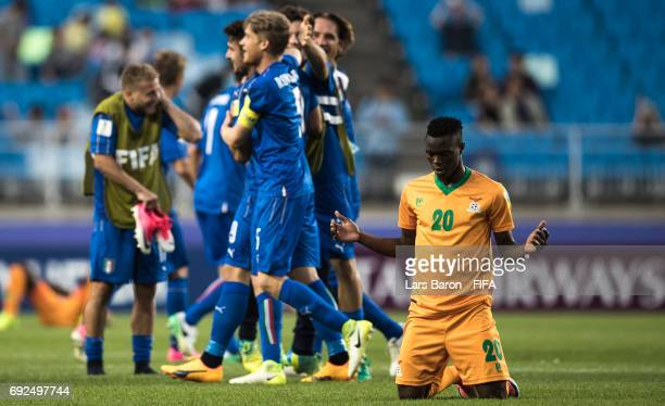 Patson Daka of Zambia is seen on the pitch after loosing the FIFA U20 World Cup Korea Republic 2017 Quarter Final match between Italy and Zambia at...