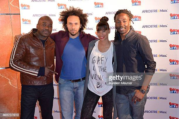 Patson Yassine Azzouz Alicia Fall and Noom Diawara attend the AFROSTREAMvod at TF1 on March 4 2015 in Paris France