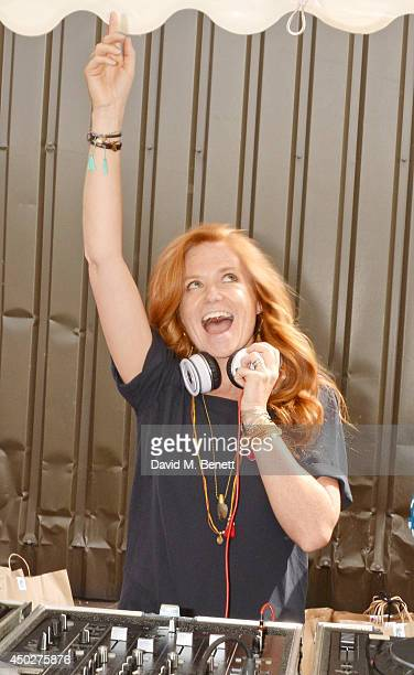Patsy Palmer DJ's at the Vauxhall Art Car Boot Fair 2014 in Brick Lane on June 8 2014 in London England