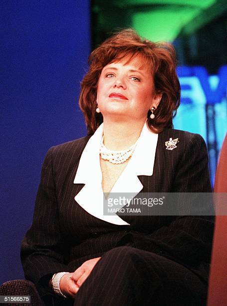 Patsy Ramsey whose daughter JonBenet was found murdered in her home nearly four years ago answers questions from journalism students 12 October 2000...