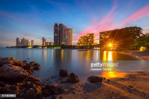 Pattaya City beach and Sea in Twilight, Thailand