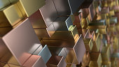 Pattern from metal cubes of different sizes. Abstract geometrical 3d background. 3D render illustration