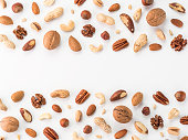 Pattern of nuts mix with copy space. Various nuts isolated on white. Pecan, macadamia, brazil nut, walnut, almonds, hazelnuts, pistachios, cashews, peanuts, pine nuts. Top view or flat-lay. Copy space