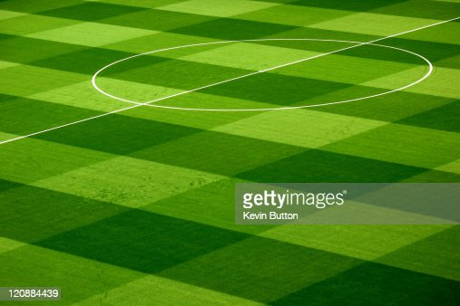 Pattern on football pitch : Stock Photo