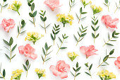 Pattern with pink azalea and yellow flowers and eucalyptus leaves on white background. View from above.