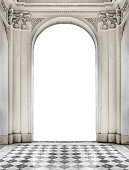 Patterned floor and classical style blank entrance building photo