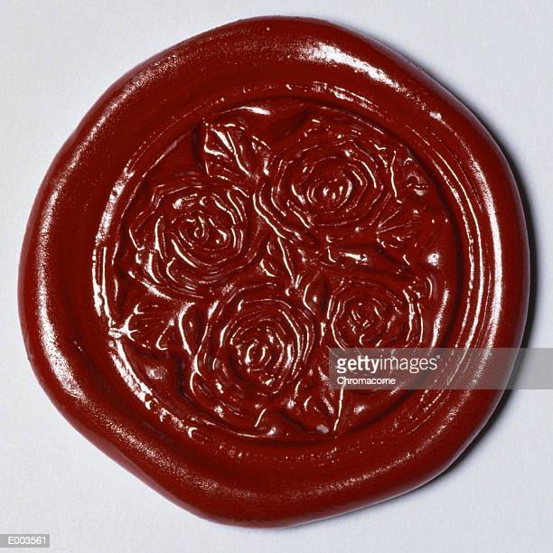 Patterned, red wax seal