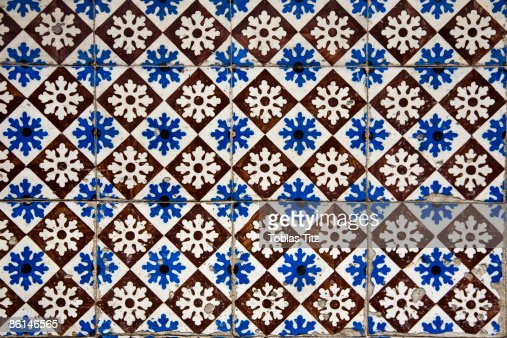 Patterned wall tiles, Porto, Portugal