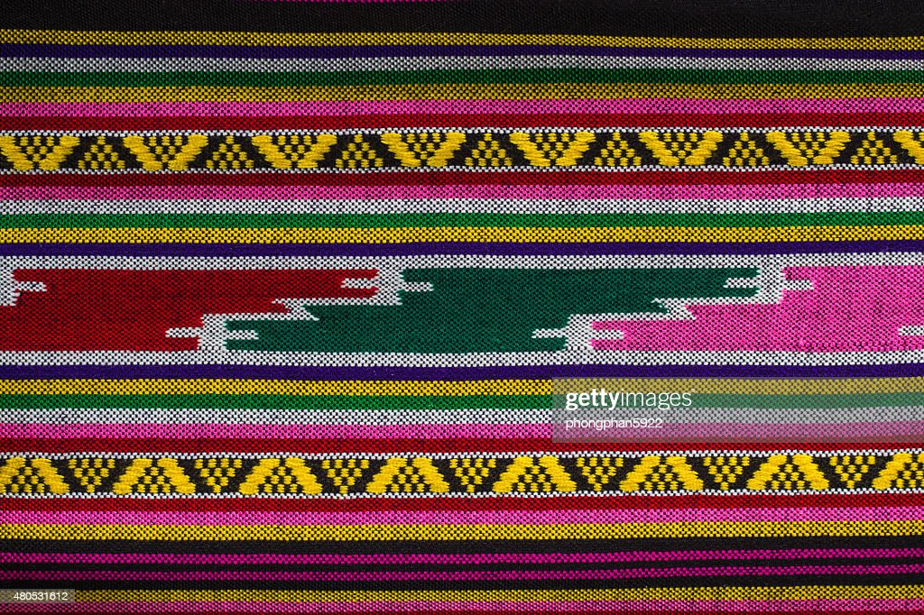 Patterns  hand made fabric woven in the North of Thailand. : Stock Photo